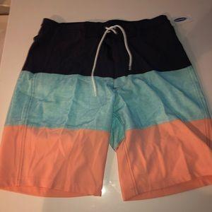 Old navy color block swim trunks shorts 32 new
